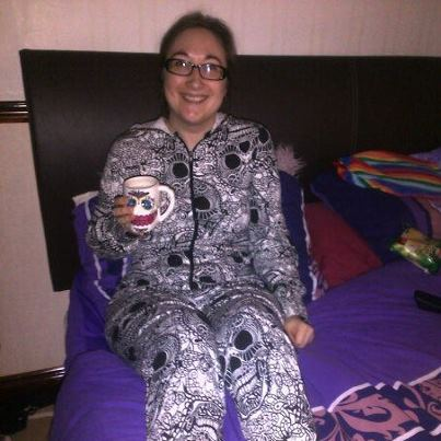 Me, a sugar skull mug and a skull onesie. You wish you were me